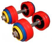 Гантели разборные цветные по 30 кг в наборе пара