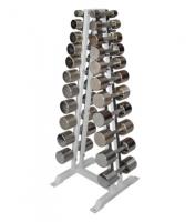 Гантельный ряд хромированный от 2 до 16 кг с шагом 2,5 кг (12 пар)