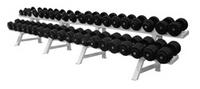 Обрезиненный гантельный ряд от 8,5 до 56 кг с шагом 2.5 кг (20 пар)