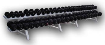 Обрезиненный гантельный ряд от 11 до 81 кг с шагом 2.5 кг (28 пар)