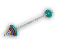 Штанга разборная, 50 кг в наборе, тренировочная, диски обрезиненные цветные Анат