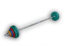 Штанга разборная, 70 кг в наборе, тренировочная, диски обрезиненные цветные Анат