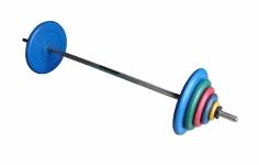Штанга разборная, 90 кг в наборе, тренировочная, диски обрезиненные цветные Анат