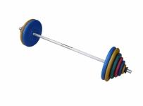 Штанга разборная, 120 кг в наборе, тренировочная, диски обрезиненные цветные Анат