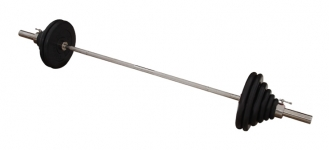 Штанга с грифом 2200*50мм, 132,5 кг в наборе, диски обрезиненные черные