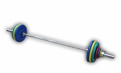 Штанга с грифом 2200*50мм, 132,5 кг в наборе, диски обрезиненные цветные Анат