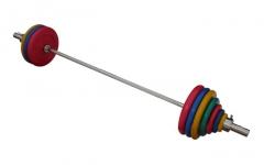 Штанга с грифом 2200*50мм, 182,5 кг в наборе, диски обрезиненные цветные Анат