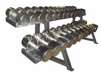 Гантельный ряд хромированный от 10 до 50 кг с шагом 2,5 кг (17 пар)