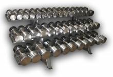 Гантельный ряд хромированный от 12,5 до 60 кг с шагом 2,5 кг (20 пар)