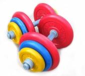 Гантели разборные обрезиненные цветные по 20 кг в наборе пара