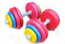 Гантели разборные обрезиненные цветные по 30 кг в наборе пара