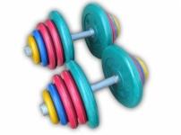 Гантели разборные обрезиненные цветные по 50 кг в наборе пара