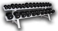 Обрезиненный гантельный ряд от 3,5 до 31 кг с шагом 2.5 кг (12 пар)